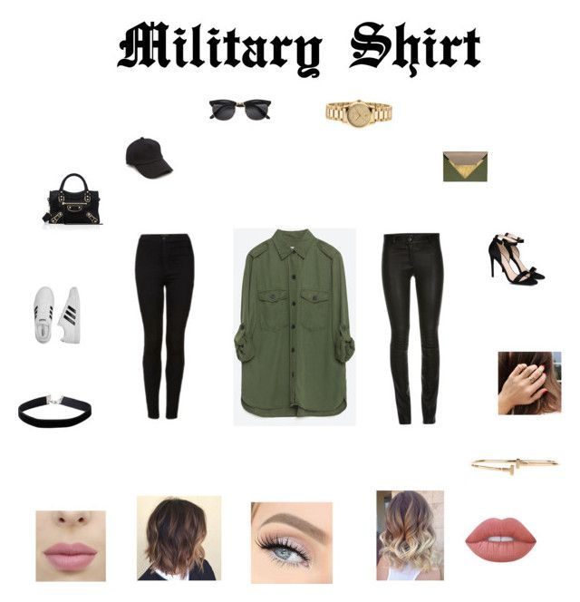 Military Shirt by aasti3638 on Polyvore featuring Zara, Topshop, STELLA McCARTNEY, adidas, Balenciaga, Dareen Hakim, Gucci, Miss Selfridge, rag & bone and Lime Crime
