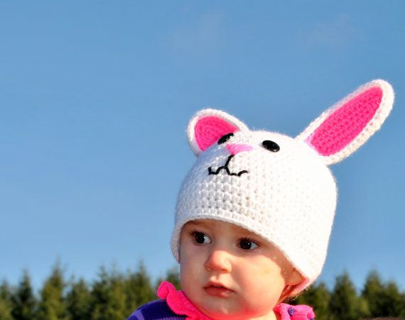 Crocheted Rabbit Hat Bunny Hat Easter Bunny Hat White by TORYmakes, $19.00