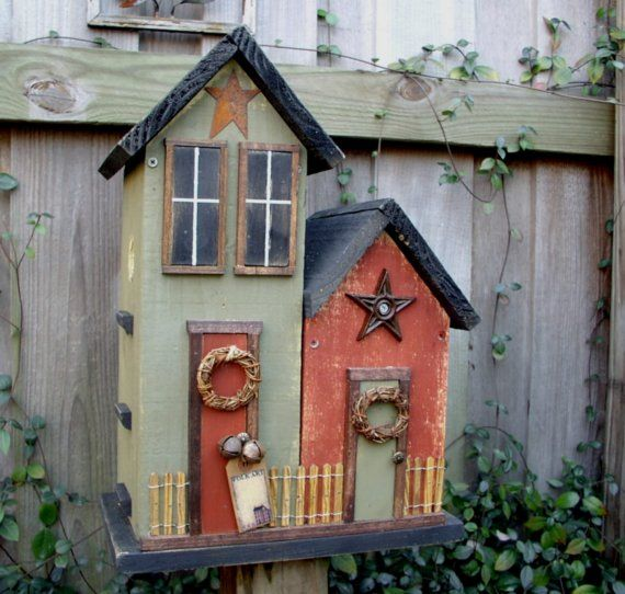 Primitive Folk Art Double Country Birdhouse...LIMITED TIME SPRING SALE PRICE..
