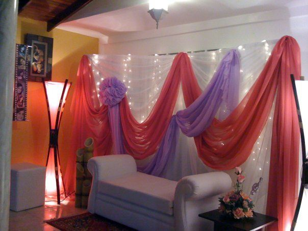 8 best party draping images on pinterest draping fiesta for Decoracion con telas