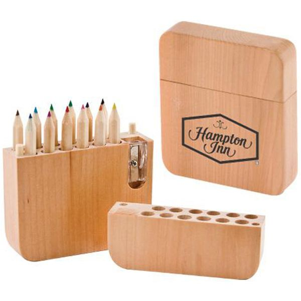 12 Piece Colored Pencil Set With Sharpener These Pre Sharpened Colored Pencils Are Stylishly Stored In A With Images Personalized Pencils Colored Pencil Set Pencil Boxes