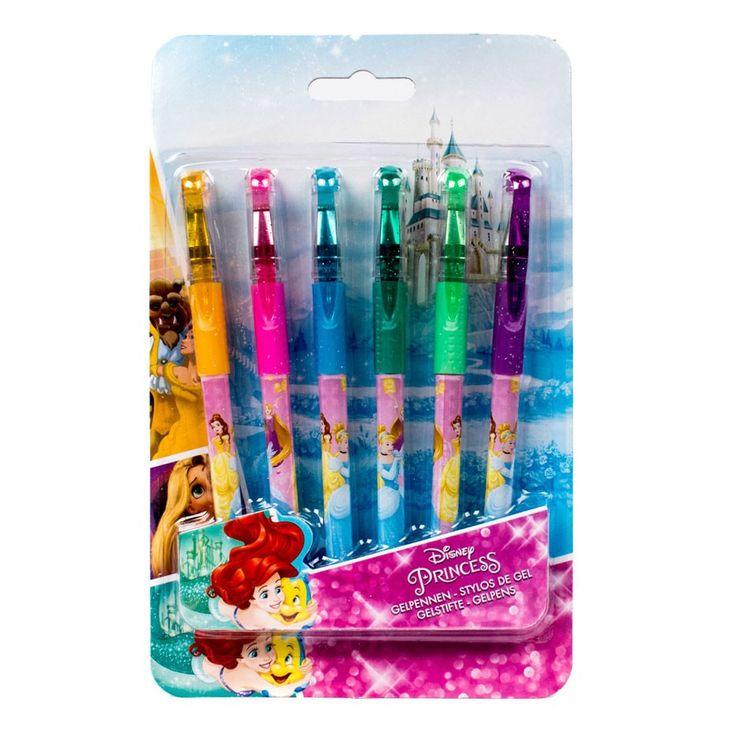 Set van 6 glinsterende gelpennen in verschillende kleuren met een afbeelding van Disney prinsessen rondom. Afmeting:verpakking 14 x 25 cm. - Disney Prinses Gelpennen, 6st.