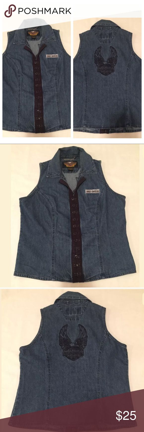 """Harley-Davidson Motorcycles Denim Women's Vest Top Description: Harley-Davidson Motorcycles Denim Embroidered Women's Vest Top.  Size: Medium (M)  Condition: Item is in excellent pre-owned condition. No rips, holes, or stains.  Measurements:   •Chest (Armpit-Armpit): 18.5""""  •Length (Bottom of Collar-Bottom): 20""""  •Sleeve (Shoulder Seam-Bottom of Cuff): 0"""" Harley-Davidson Tops Muscle Tees"""