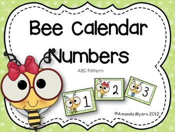 Calendar numbers from 1 to 31 with a bee theme.  These cards contain an ABC pattern.  Use for your calendar or in math centers for ordering numbers to 31.  Make two copies and you have a matching game.Amanda Myers