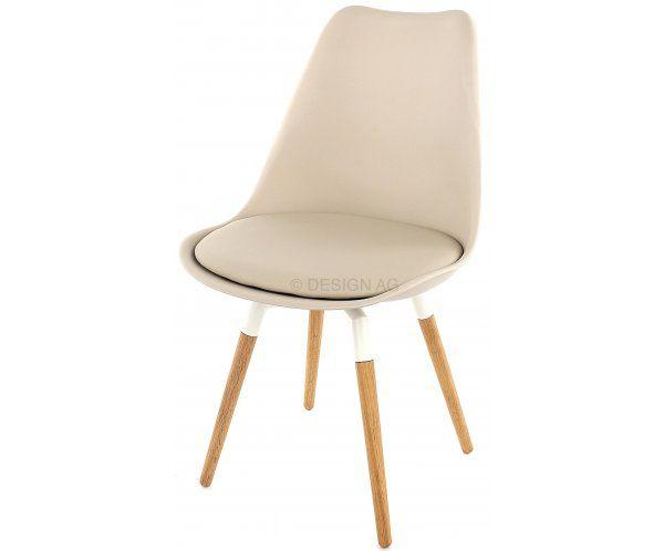Krzesło Gina Ciepło Szare Nogi Fido Drewniane, Biały lakier - 549zł