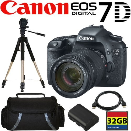 Canon EOS 7D 18 MP CMOS Digital SLR Camera with 3-inch LCD and 18-135mm f/3.5-5.6 IS UD Standard Zoom Lens + Canon LP-E6 Equivalent Battery (Generic)+ 32GB Compact Flash Memory + Case + Heavey Duty Tripod + HDMI Cable