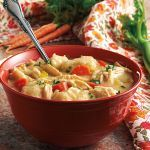 """Chicken and Dumplins by The Crock'n Girls -This is such a great recipe for the cool months, and it is also nice that it is a hearty enough soup to """"stand alone"""". We chose to serve ours with some steamed broccoli, and it added a punch of color and flavor to the meal! We also chose to change things up a bit and add in some veggies to the mix, and it turned out very yummy! This meal makes us want to stay indoors and relax with our families… board game anyone??? Used 6-quart slow cooker"""