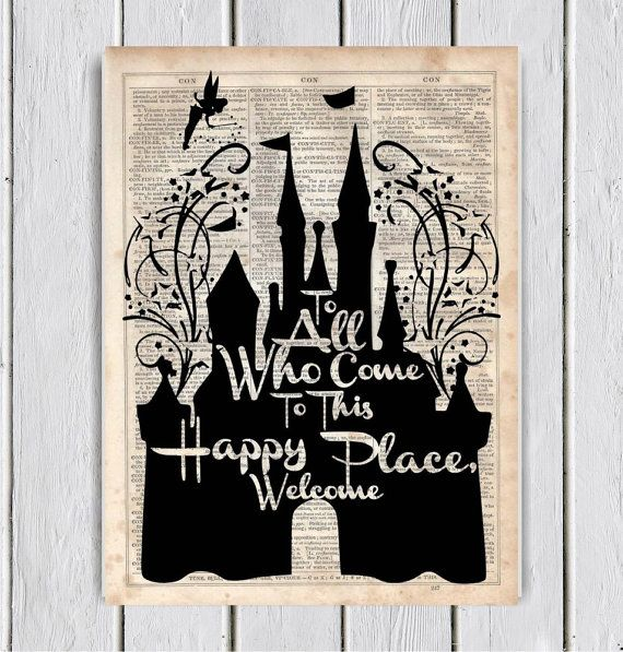 Walt Disney Castle Quote, Dictionary Art Print, Upcycled Book Art, Silhouette, dictionary page Wall Decor, Wall Hanging, Mixed Media Art