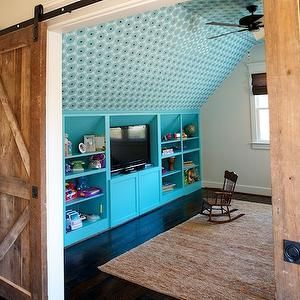 Turquoise Built Ins, Contemporary, boy's room, Twin Companies