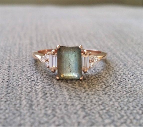 "Antique Labradorite Moissanite and Diamond Engagement Ring Emerald Cut Baguette Classic Rose Gold timeless PenelliBelle Rustic ""The Margo"""