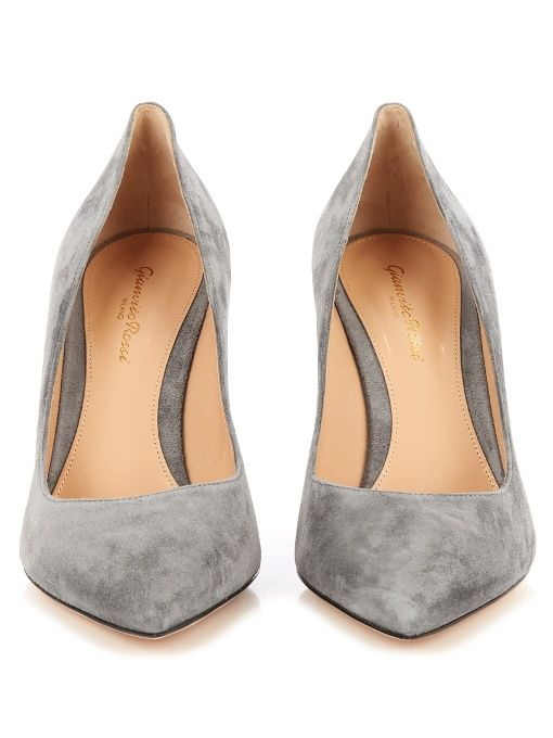 Gianvito Rossi's cement-grey Gianvito pumps are truly timeless. They're meticulously made in Italy from soft suede, and shaped with a sharp point toe and mid-high stiletto heel. They'll look just as chic with louche trousers as they will form-fitting dresses.