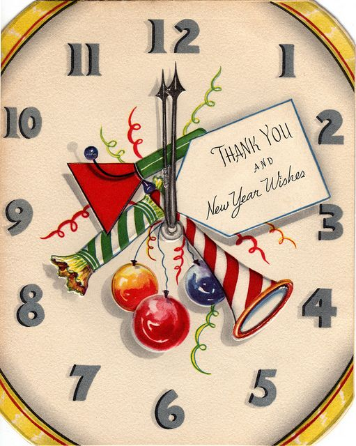 1940s Clock Face New Year's Greeting