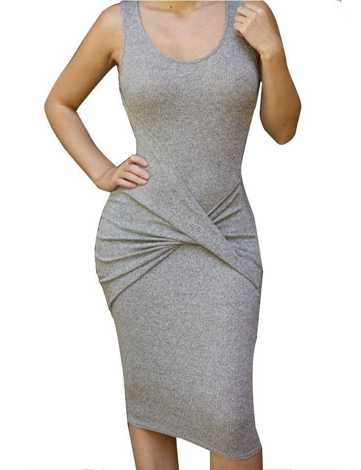 Allegrace Womens Sleeveless Sexy Bodycon Midi Bandage Party Evening Dresses Gray S