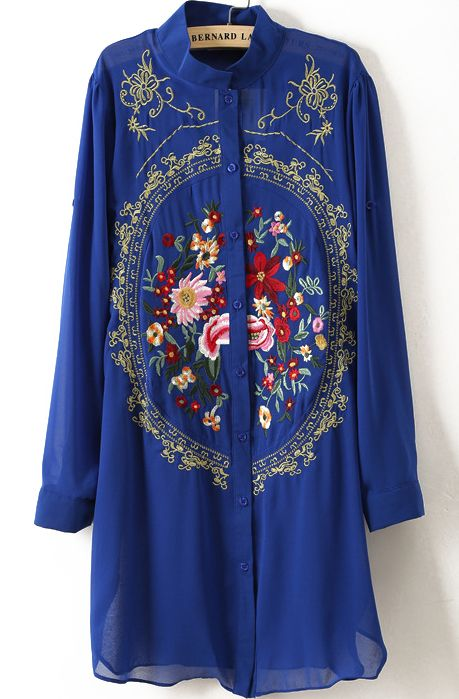 Royal Blue Long Sleeve Rose Embroidered Chiffon Blouse - Sheinside.com