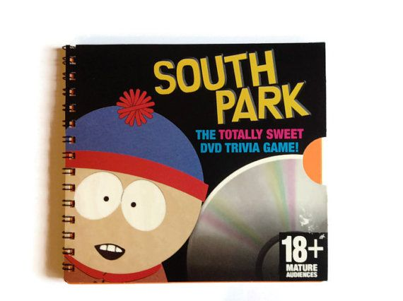 Here we have a handmade notebook. Created by myself using a CD box from the SOUTH PARK trivia game Contains approx 35 pages (70 sides) of hand cut