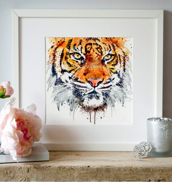 Tiger Face Close-up Watercolor portrait Wall art by Artsyndrome