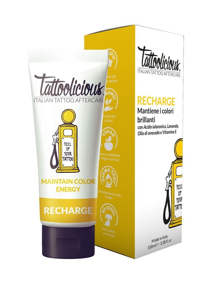 Recharge mantiene giovane e rende brillante il tuo tatuaggio! #tattoolicious #tatuaggio #tattooed #aftercare #ink #tatuaggi #tattoo  #organic #bio #crueltyfree #italiantattooaftercare