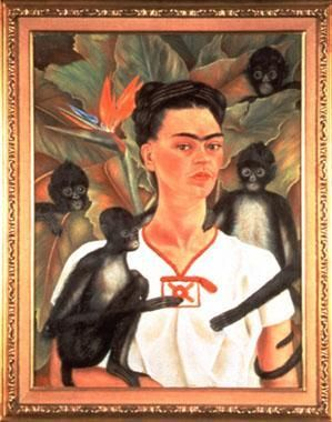 Self portrait with monkeys - by Frida Kahlo