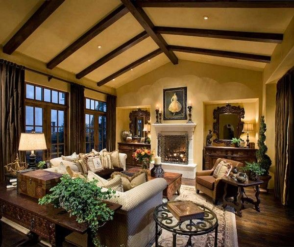 Mesmerizing Rustic Cottage Living Room Design Ideas With Fixture Hidden  Ceiling Light Also Classy Fireplace As Well As Cream Wall Paint Color Plus  Brown ... Part 39