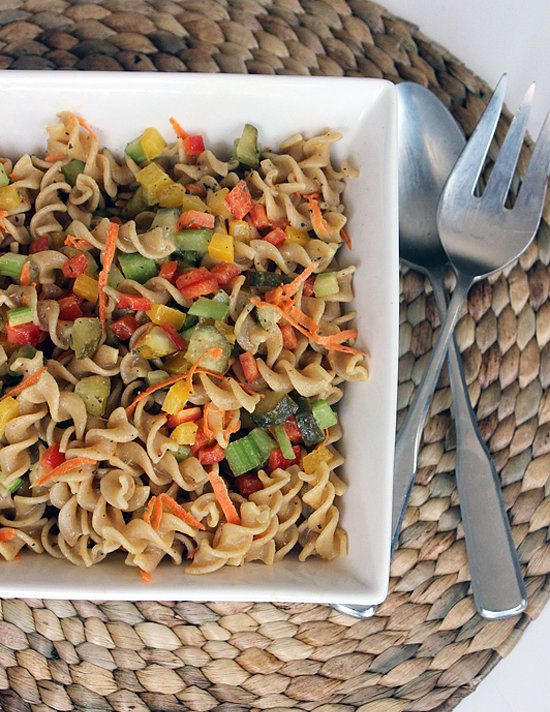 No Summer BBQ is complete without a big bowl of chilled pasta salad. Between the chopped pickles and dijon mustard used in this recipe, the flavor of this tangy pasta salad is so tasty no one will miss that fatty mayo.