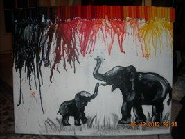 Elephant Melted Crayon Art by Rei-of-Sunshine