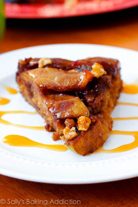 Caramel Apple Upside Down Cake. Super moist, flavorful, and surprisingly easy. | sallysbakingaddiction.com