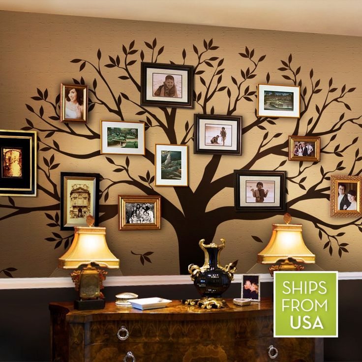 Simple Shapes Family Tree Wall Decal, 107 x 90-Inch, Chestnut Brown