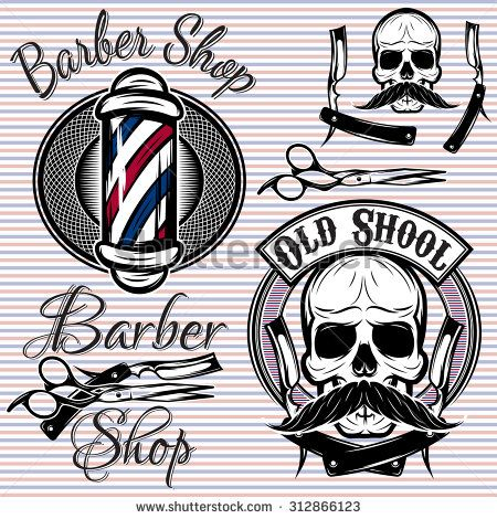 set of vector emblems on a theme barber shop - stock vector