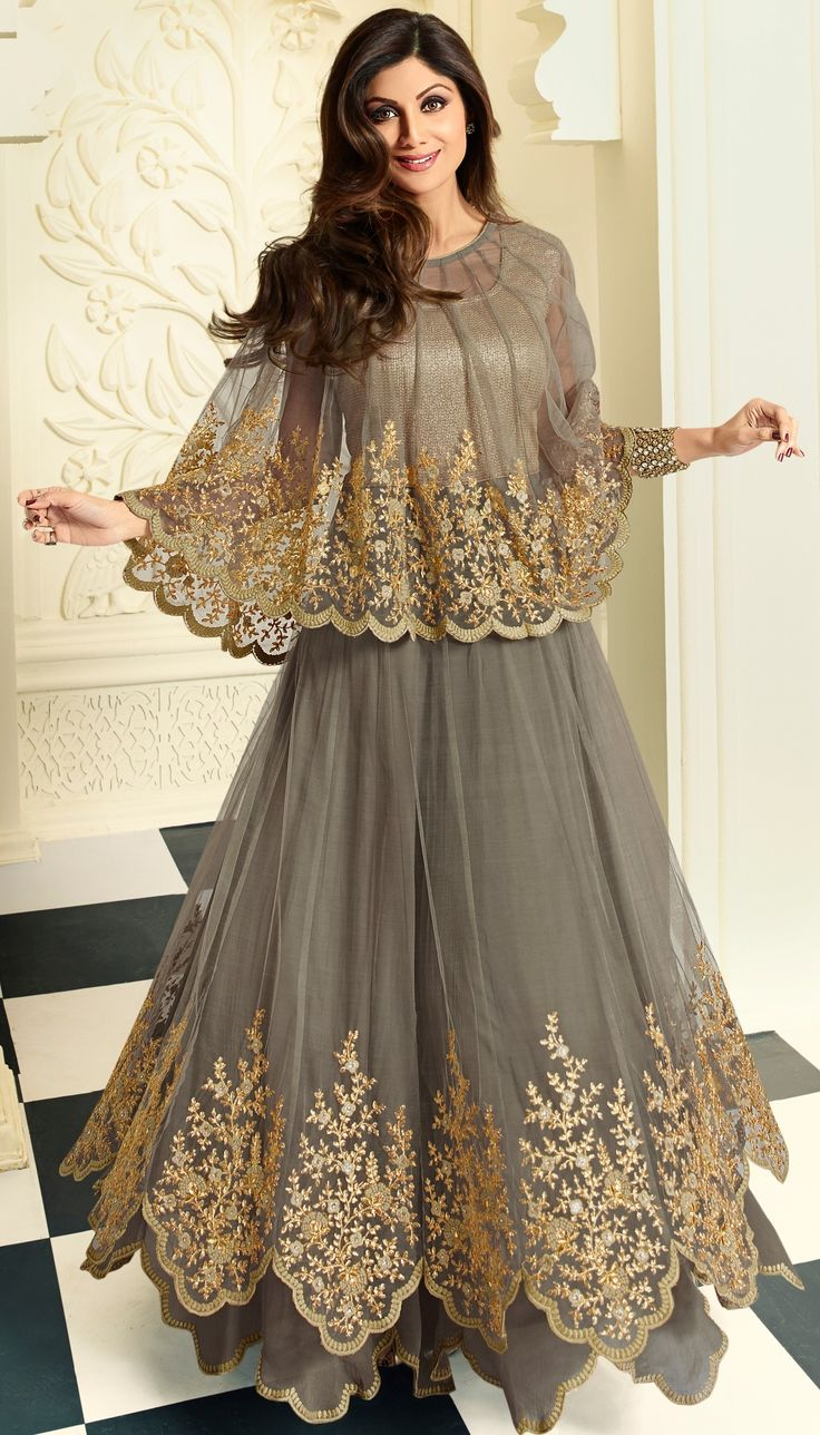 Shilpa Shetty, Gray Net Crape Resham Stone Embroidered Long Anarkali Suit With Chiffon Dupatta