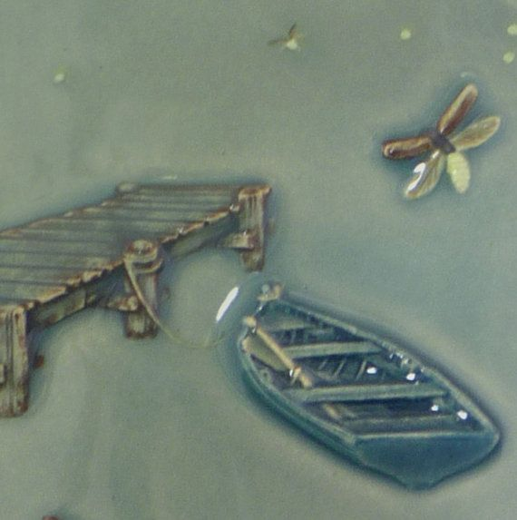 Ceramic art tile Dockside Fireflies home by MedicineBluffStudio