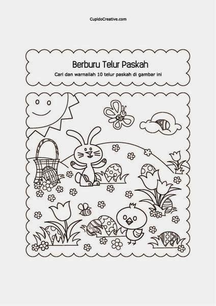 permainan paskah untuk balita/TK, mencari & mewarnai gambar telur paskah tersembunyi