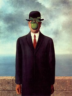 """The Son of Man, Rene Magritte -- self-portrait with the hope of conveying important messages about the individual. Magritte stated """"Everything we see hides another thing. We always want to see what is hidden by what we see. There is an interest in that which is hidden and which the visible does not show us. This interest can take the form of a quite intense feeling, a sort of conflict, one might say, between the visible that is hidden and the visible that is present."""""""
