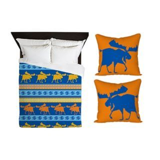 Moose Duvet cover + 2 orange dot cushions covers by sparkheadkids.com