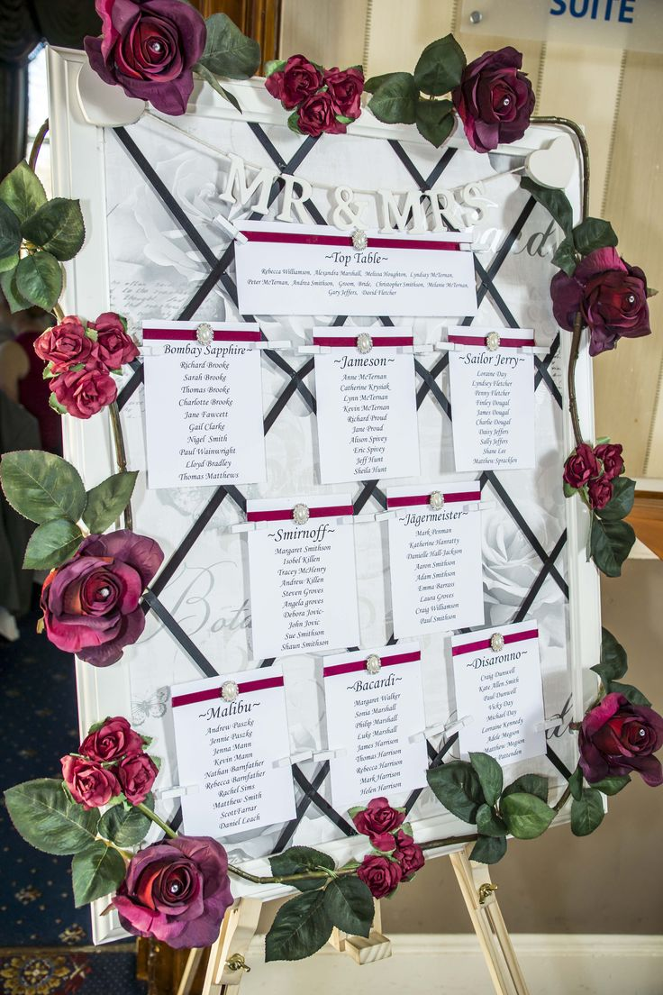 A very elegant seating plan filled with burgundy roses.
