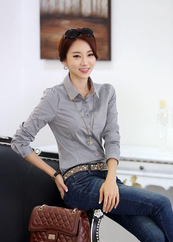S xxl 2015 de otoño Patchwork camisas de manga larga, mujeres 5 colores tapas de la camisa, moda mujer profesional ocupación blusa de algodón en Blusas y Camisas de Moda y Complementos Mujer en AliExpress.com   Alibaba Group