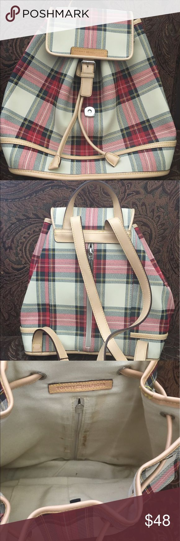 🍰1 DAY SALE Tommy Hilfiger mini backpack Gorgeous Tommy Hilfiger mini backpack. Some stains on the inside & light marks on the exterior. Tommy Hilfiger Bags Backpacks