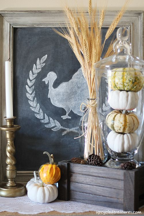 Check out my Rustic Thanksgiving Vignette - Upcycled Treasures  #thanksgiving #chalkboard #vignette