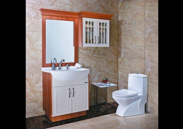 Ducha Con Baño Turco:en madera y blanco con gabinete flotante, espejo y mueble inferior con