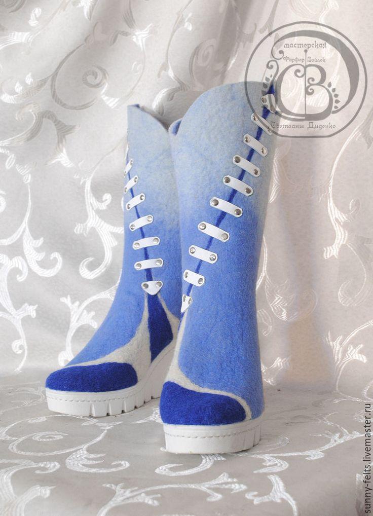 """Купить """"Мейнстрим"""" - сапоги из шерсти - голубой, сапоги, сапоги женские, сапоги ручной работы"""