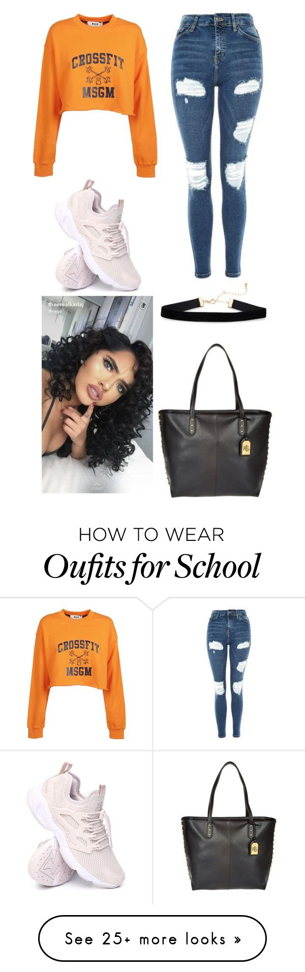 """Simple School"" by thebumblebri on Polyvore featuring MSGM, Topshop, Reebok and Lauren Ralph Lauren"