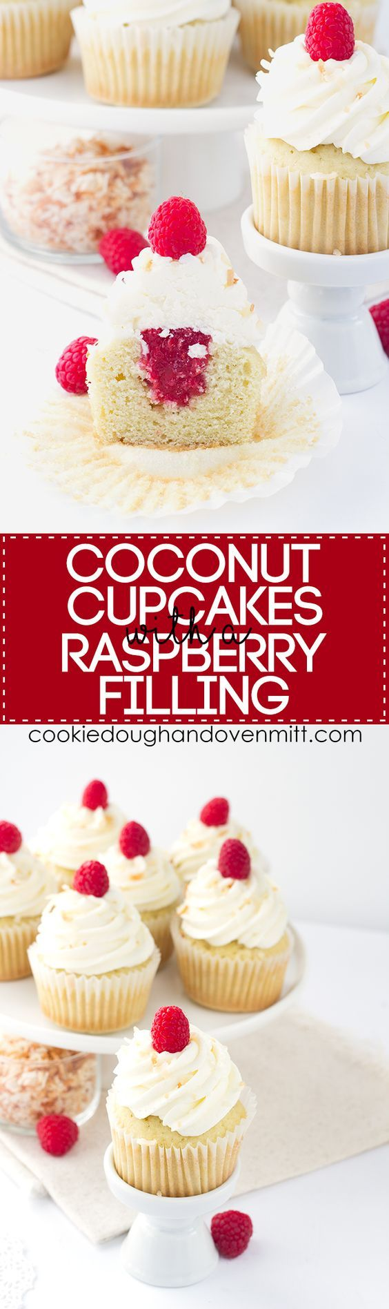 Coconut Cupcakes - coconut cupcakes stuffed with a homemade raspberry filling and topped with a high coconut frosting swirl: