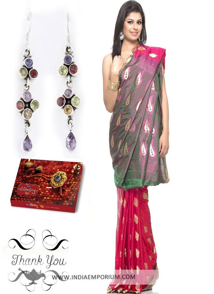 Pink #Saree & Earrings Hamper For #Sister  #Rakhi  #RakshaBandhan