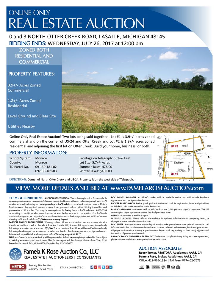 Online Only Auction of 5.7+/- Acres Zoned RES/CM. 0 and 3 North Otter Creek Road, LaSalle, Michigan 48145 - Bidding Ends: Wednesday, July 26, 2017 at 12:00 pm. 2 Lots being sold together – #1 is 3.9+/- acres zoned commercial, on the corner of Telegraph and Otter Creek, and #2 is 1.8+/- acres and zoned residential and adjoining the first lot on Otter Creek. Build your home, business, or both. View more details online. Pamela K Rose Auction Co LLC.