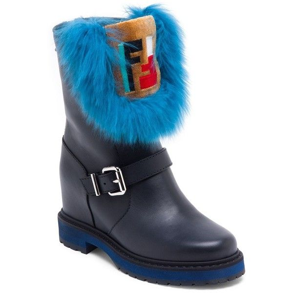 6356e74c085 Fendi Fur-Trim Leather Moto Boots ($1,250) ❤ liked on Polyvore ...