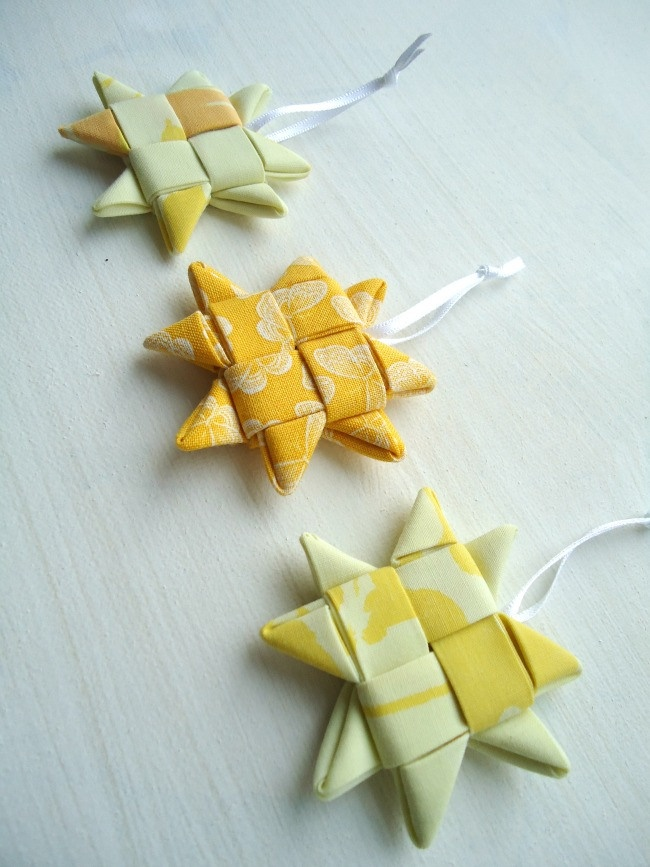 yellow fabric woven stars