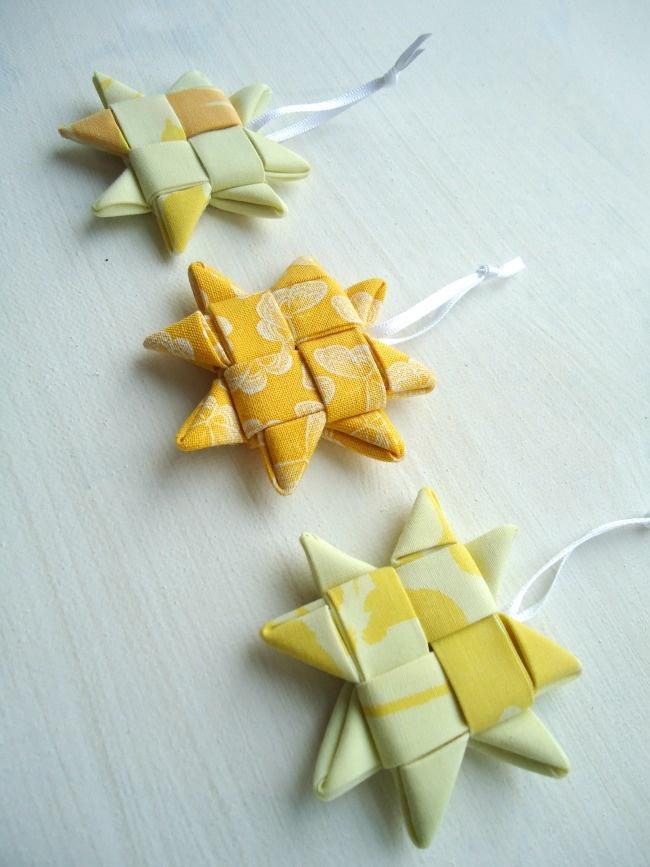 yellow fabric woven stars