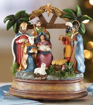 Colorful Nativity Christmas Music Box