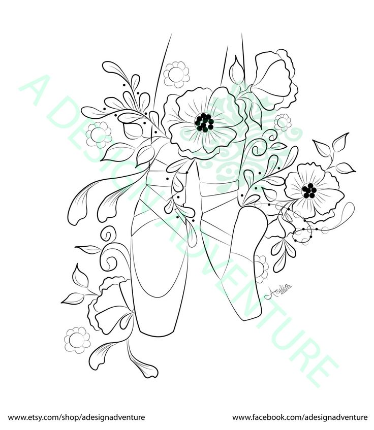 Ballet Pointe Shoes Adult Coloring Page by ...