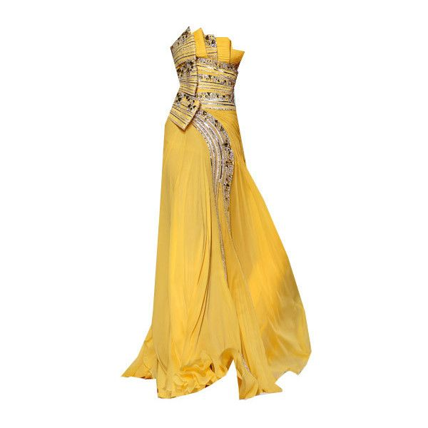 Basil Soda ~ Edited by Beverly in Photoshop ❤ liked on Polyvore featuring dresses, gowns, long dress, vestidos, yellow gown, long yellow dress, yellow dress, long dresses and yellow evening gowns
