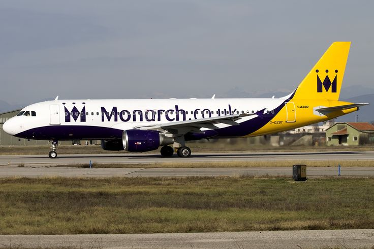 Monarch A320 G-OZBY at Verona Airport. Ready to take off from runway 22